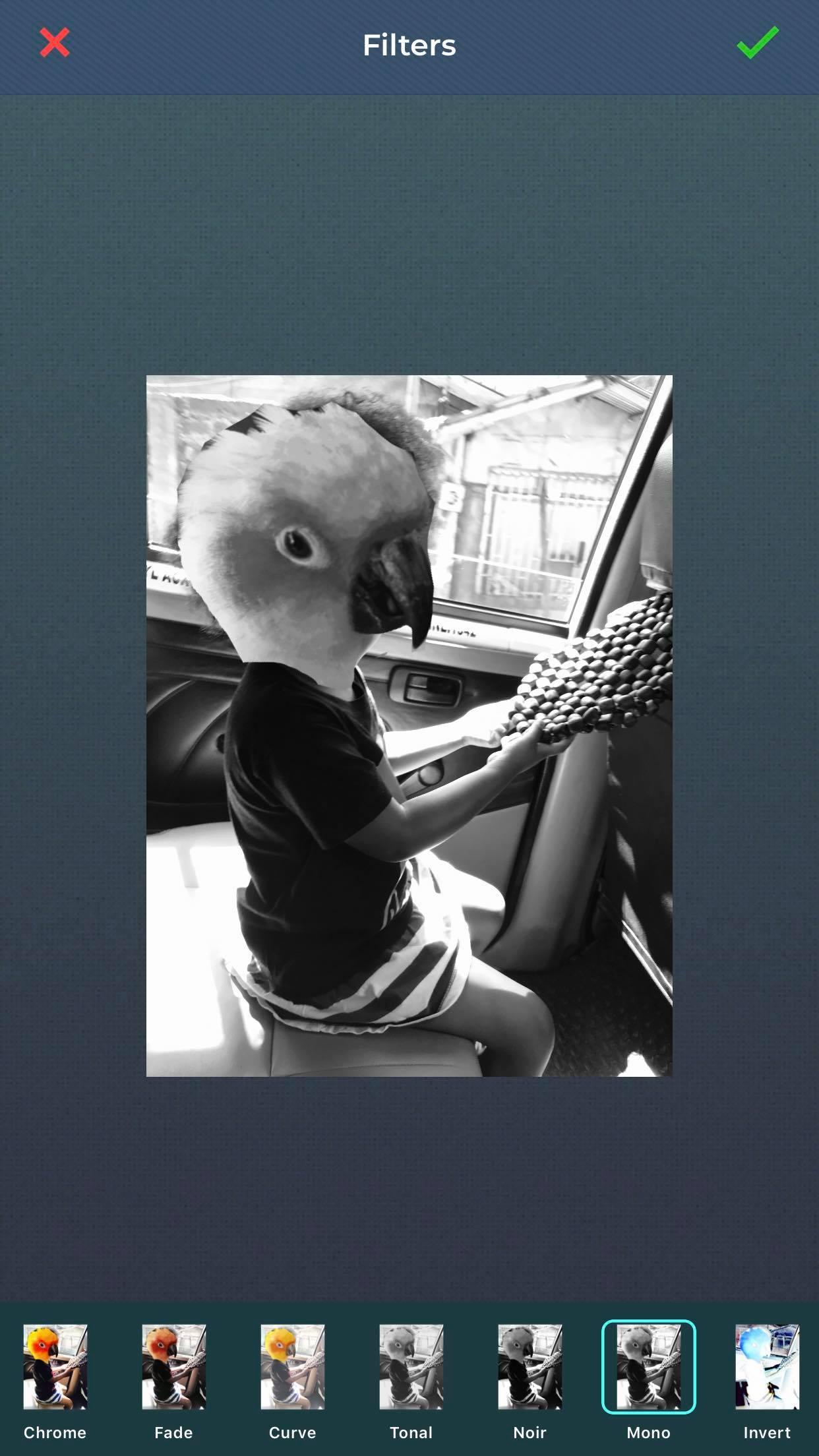 Noir photo filter of a little girl with a bird head