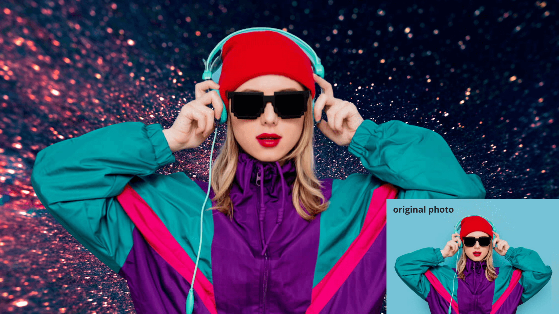 girl in sportswear and sunglasses - add background images